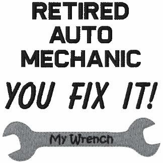 Camisa bordada mecánico de automóviles jubilada