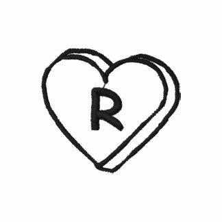 Camisa bordada monograma del corazón de la letra R