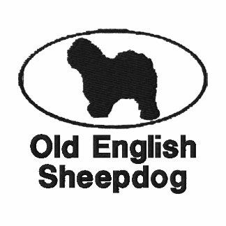 Camisa bordada perro pastor inglés viejo oval