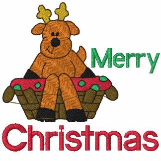 Camisa bordada reno del navidad