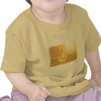 Camisa brillante del bebé de la vela de la puesta