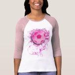 Camisa cabida fútbol floral del Grunge de las muje