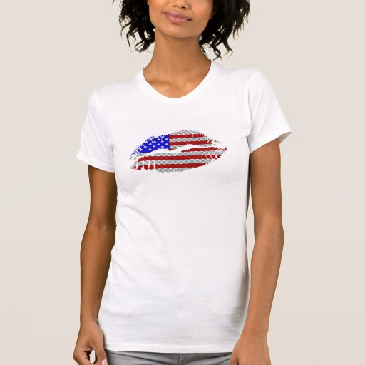 Camisa caliente de los labios de la bandera americ