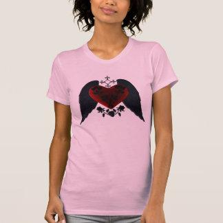 Camisa coa alas negro del corazón del gótico