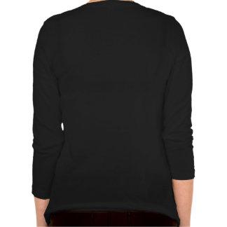 Camisa con cuello de pico de la manga larga de las