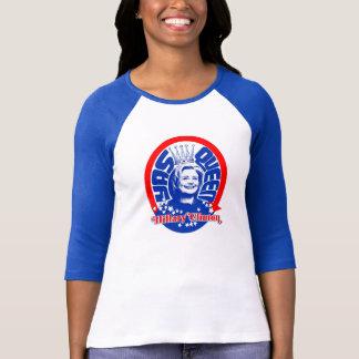 Camisa con mangas del béisbol de la reina Hillary