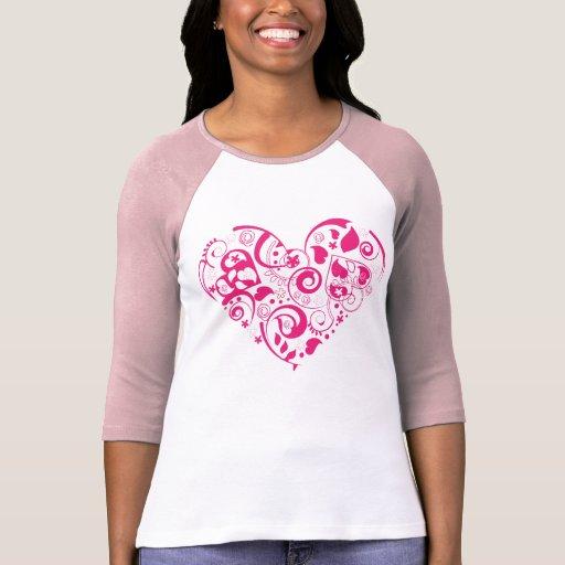 Camisa con mangas del raglán de las señoras con he