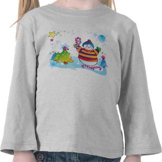 Camisa con mangas larga del muñeco de nieve para