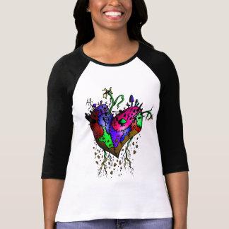 Camisa cosida del béisbol del corazón