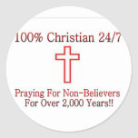 Camisa cristiana 3 pegatinas redondas
