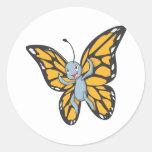 Camisa de encargo del dibujo animado del monarca d pegatinas redondas