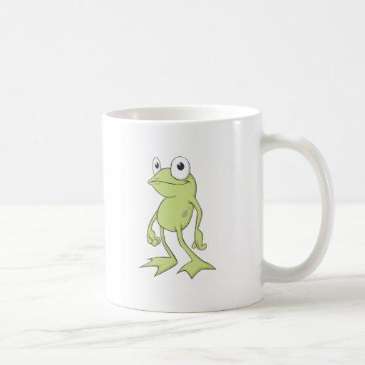 Camisa de encargo sonriente linda de la rana verde taza básica blanca