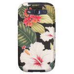 Camisa de hawaiana hawaiana del hibisco negro de H Galaxy S3 Cárcasas