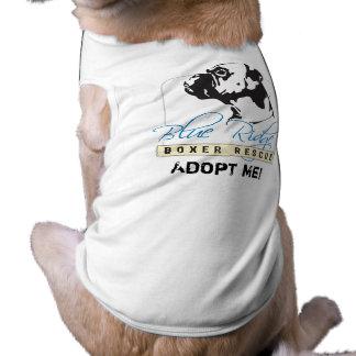 Camisa de la adopción para el rescate azul del box playera sin mangas para perro