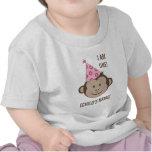 Camisa de la cara del mono del chica del cumpleaño