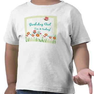 Camisa de la fiesta de cumpleaños del chica de flo