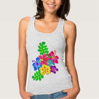 Camisa de la impresión del hibisco de las flores