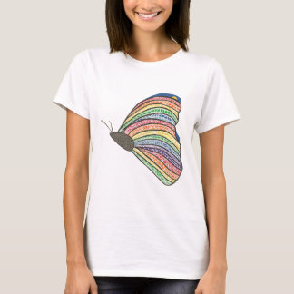 Camisa de la mariposa del mosaico del arco iris