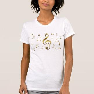 Camisa de las notas musicales del oro