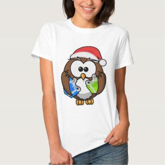 Camisa de las señoras del búho de Santa