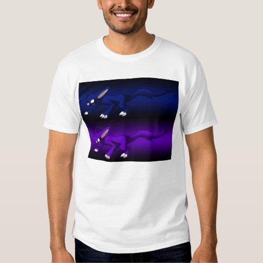 Camisa de los dragones del gato púrpura y azul
