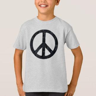 Camisa de madera quemada niños del signo de la paz