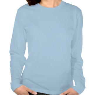 Camisa de manga larga azul de las señoras del