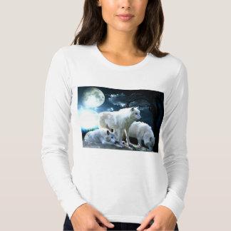 Camisa de manga larga llena de la luna del lobo