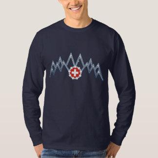 Camisa de manga larga suiza de las montañas de los