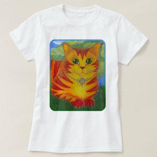 Camisa de oro del arte de la fantasía del gato de