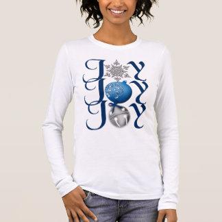 Camisa de plata azul de la alegría del navidad