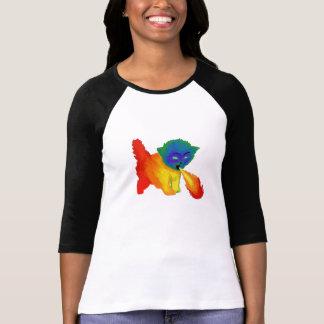 Camisa de respiración del gatito del arco iris del