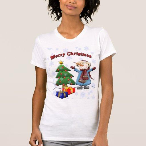 Camisa de Snowma de las Felices Navidad