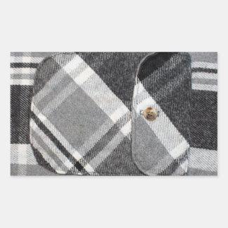 Camisa de tela escocesa pegatina rectangular
