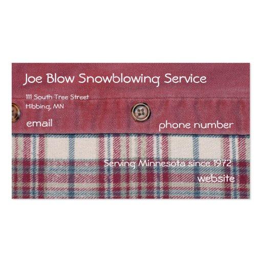 Camisa de tela escocesa tarjetas de visita