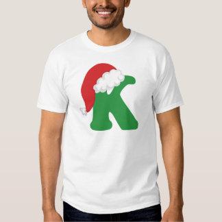 Camisa del alfabeto de la letra K del navidad