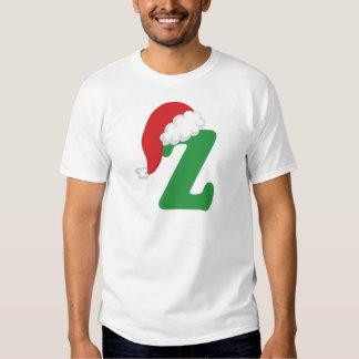 Camisa del alfabeto de la letra Z del navidad