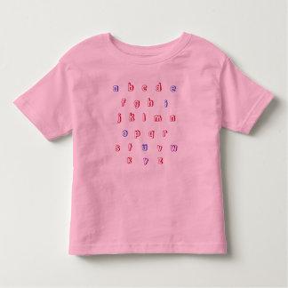 Camisa del alfabeto, minúscula, rojo, azul,