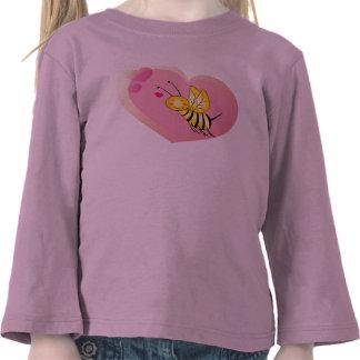Camisa del amor de la abeja para las niñas