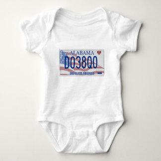 Camisa del bebé de la placa de Alabama