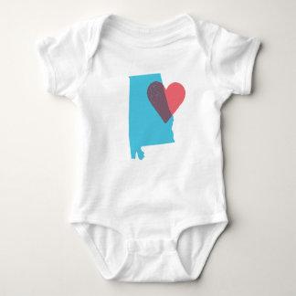 Camisa del bebé del amor del estado de Alabama