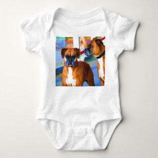 Camisa del bebé del arte de dos boxeadores