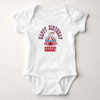 Camisa del bebé del circo con nombre de encargo