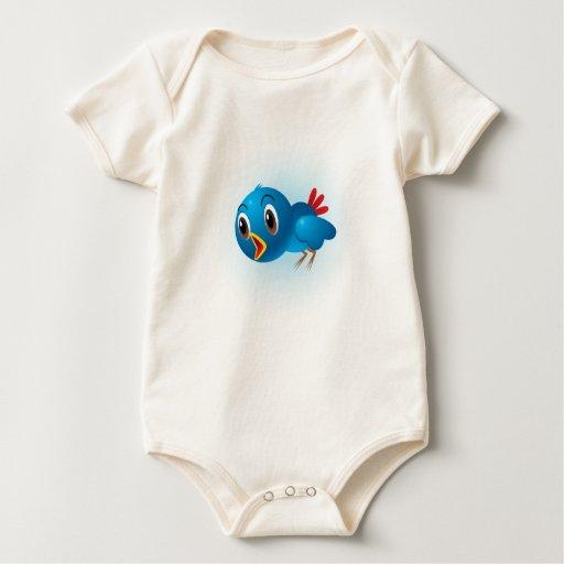 Camisa del bebé del dibujo animado del pájaro de
