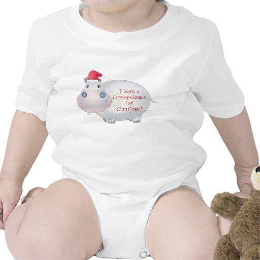 Camisa del bebé del hipopótamo del navidad