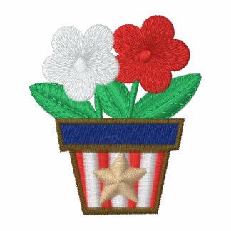 Camisa del bordado de flores del pote de las