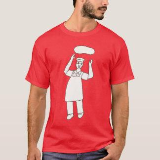 Camisa del colorante - cocinero que lanza la pizza