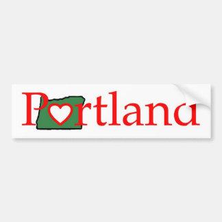 camisa del corazón de Portland Oregon Pegatina De Parachoque