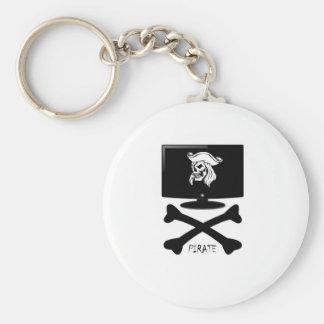 Camisa del cráneo del pirata del Internet Llavero Redondo Tipo Pin