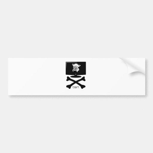 Camisa del cráneo del pirata del Internet Pegatina Para Auto